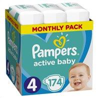 Pampers Πάνες Μωρού Active Baby Monthly Pack Νούμερο 4 (9-14 kg) 174τμχ