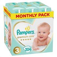 Pampers Πάνες Μωρού Premium Care Monthly Pack Νούμερο 3 (6-10 kg) 204τμχ