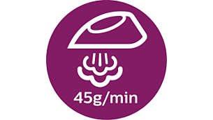Παροχή ατμού έως και 45 γρ./λεπτό για ταχύτερη αφαίρεση των τσακίσεων