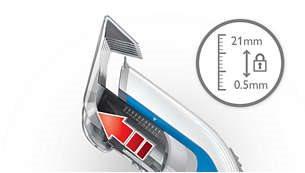 11 διαφορετικά μήκη με κλείδωμα: 0,5 έως 21mm