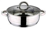 Blaumann BL-1003 Κατσαρόλα ρηχή 24cm με πάτο Induction και γυάλινο καπάκι, Gourmet Line