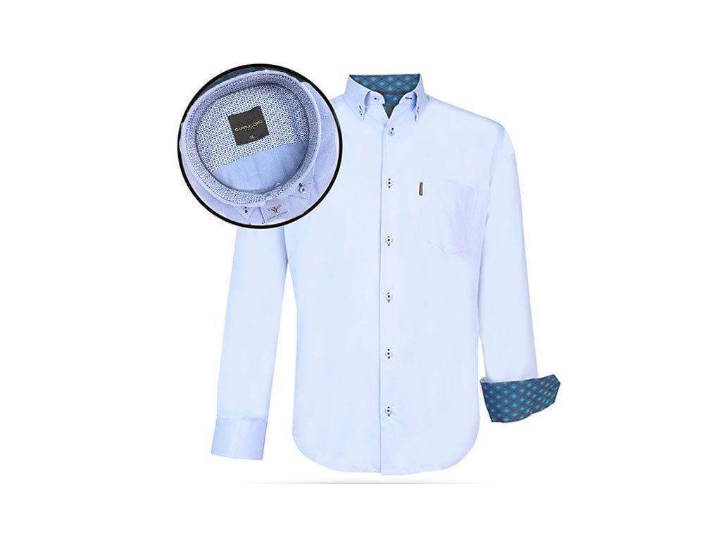 Ανδρικό Πουκάμισο Μακριμάνικο με Γιακά και σχέδιο σε Γαλάζιο χρώμα, Cappuccino Italia 3XLarge