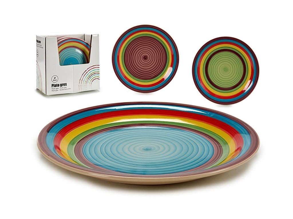 Στρογγυλό Επίπεδο Πιάτο από Πορσελάνη σε ουράνιο τόξο χρώμα, διαμέτρου 26 εκατοστών