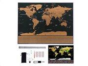 Aria Trade Παγκόσμιος Χάρτης Ξυστό με Αξεσουάρ σε μαύρο-χρυσό χρώμα, Scratch map world 82x59 cm