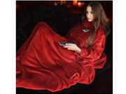 Κουβέρτα με Μανίκια Snugs Deluxe Fleece σε κόκκινο χρώμα, 215x150 cm