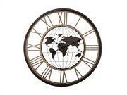 Αναλογικό ρολόι τοίχου παγκόσμιος χάρτης κατάλληλο για διακόσμηση με διάμετρο 67 cm