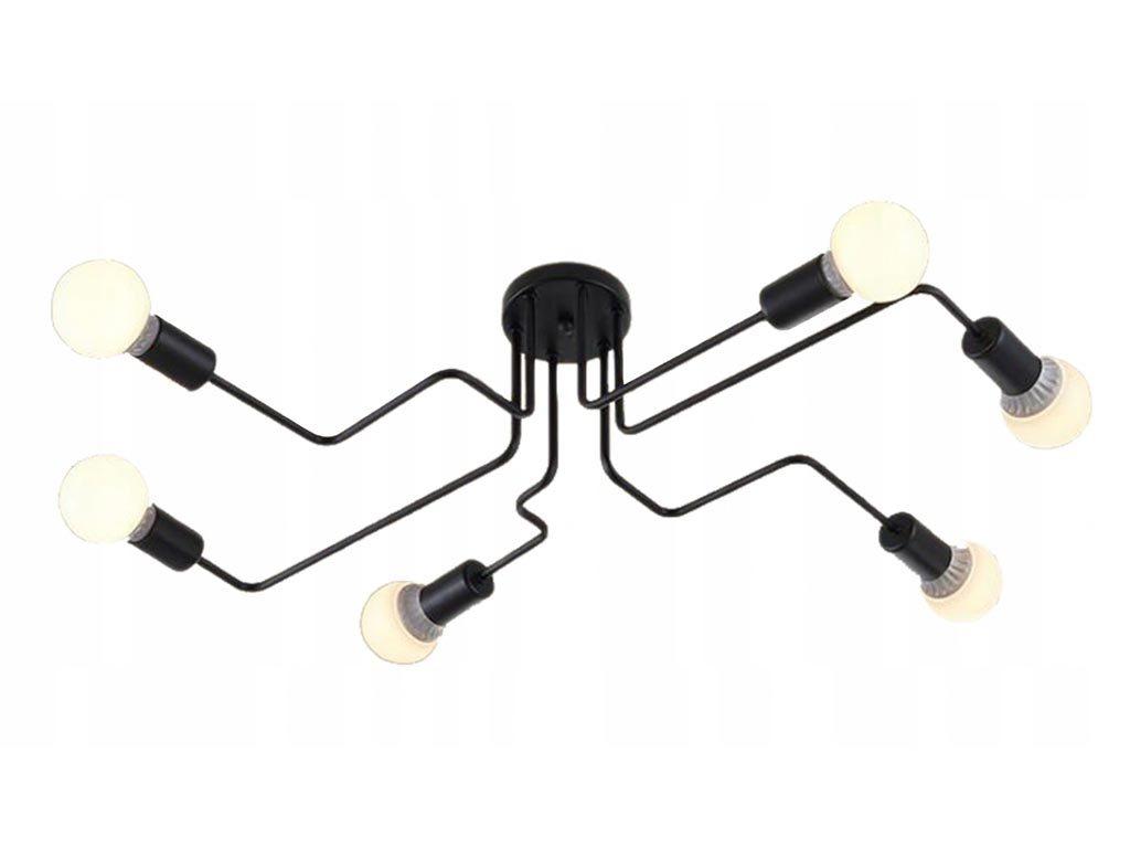 Μεταλλικό Κρεμαστό Φωτιστικό Οροφής με 6 υποδοχές για λαμπτήρες σε μαύρο χρώμα, Ceiling lamp spider