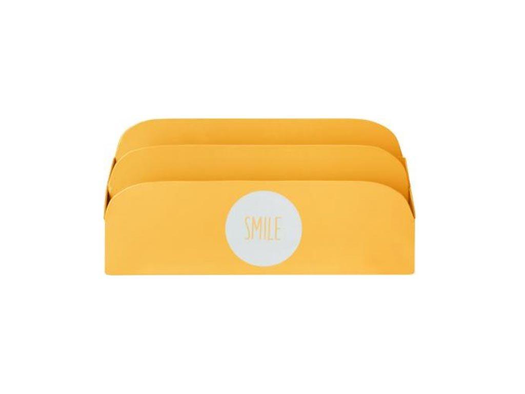 Μεταλλικό Κουτί Αποθήκευσης και αρχειοθέτηση Εγγράφων, Smile, 26.2x9.2x13.5 cm Κίτρινο