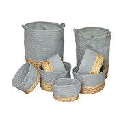 Σετ Στρογγυλά Καλάθια Απλύτων 8 τεμαχίων σε γκρι χρώμα σε διαφορετικά μεγέθη, Round baskets set