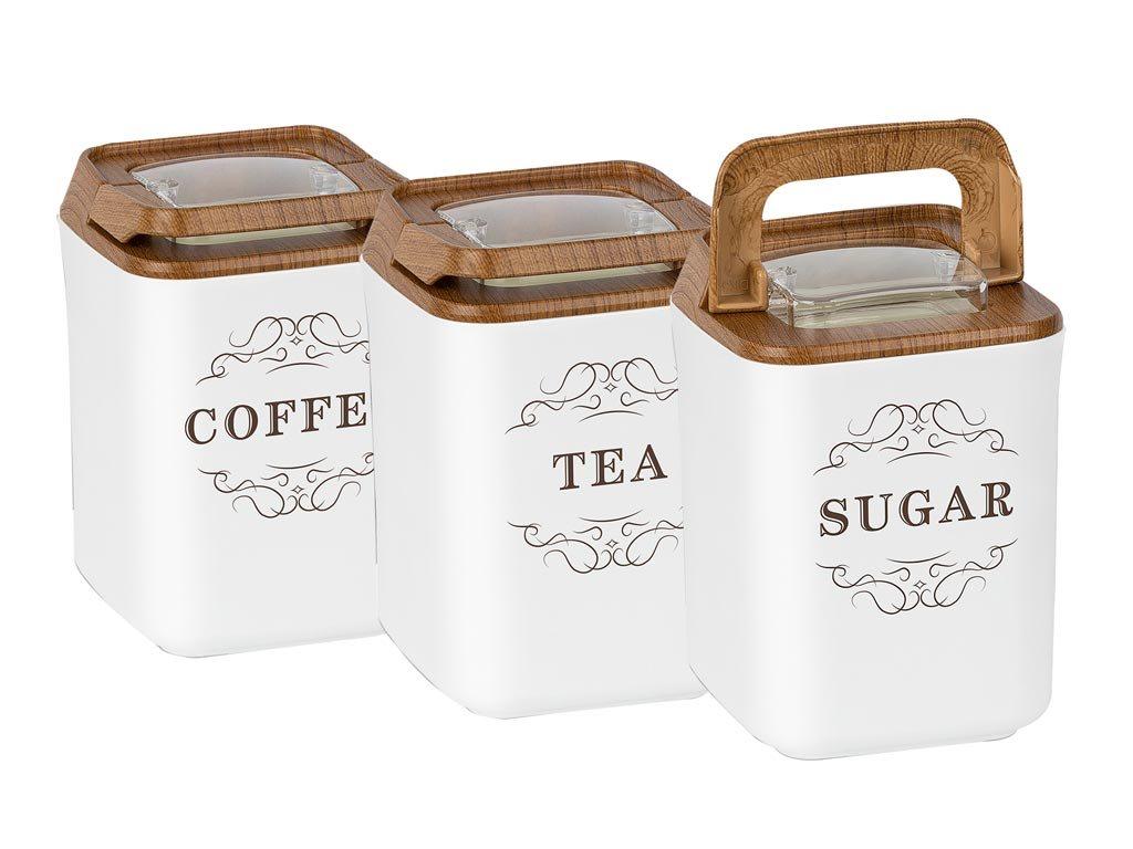 Herzberg Σετ βάζα 3 τεμ σε μαύρο χρώμα για καφέ, ζάχαρη, τσάι σε λευκό χρώμα, HG-OKY237