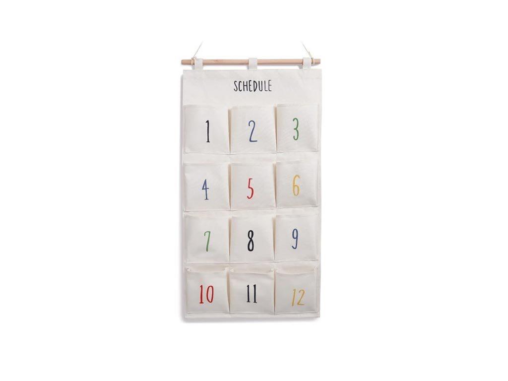 """Υφασμάτινη Κρεμαστή Θήκη 12 θέσεων με αριθμημένες θέσεις και θέμα """"Scedule"""", 70x37x1cm"""