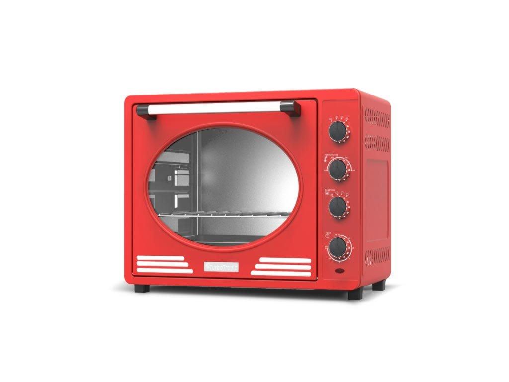 Ηλεκτρικός Retro Φούρνος Grill 35L 1600W με ταψί και πιρούνα ψησίματος, Turbotronic TT-EV35R Κόκκινο
