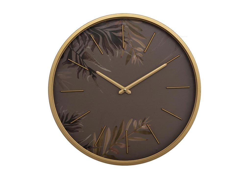 Διακοσμητικό Μεταλλικό Ρολόι Τοίχου διαμέτρου 39cm, σε χρυσό χρώμα και Φλοράλ σχέδιο