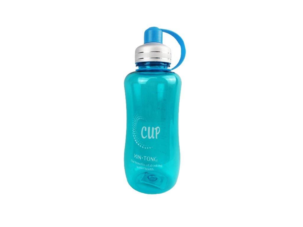 Μπουκάλι Παγούρι Νερού Διάφανο με καπάκι ασφαλείας 1500ml σε μπλε χρώμα, 9x28 cm