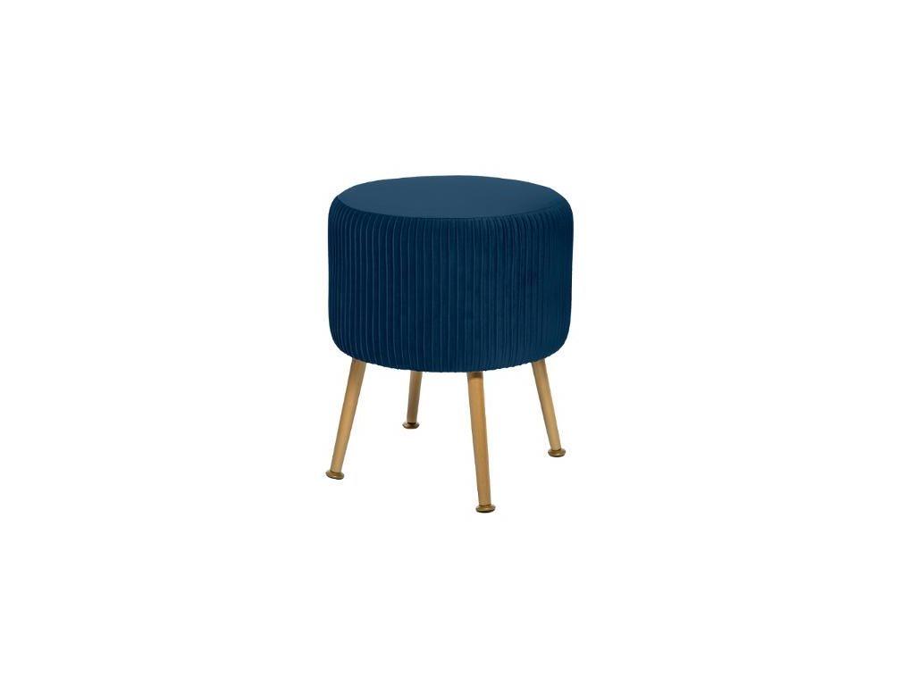 Σκαμπό σαλονιού με ξύλινα πόδια και βελούδινο μπλε κάθισμα, 35x42 cm
