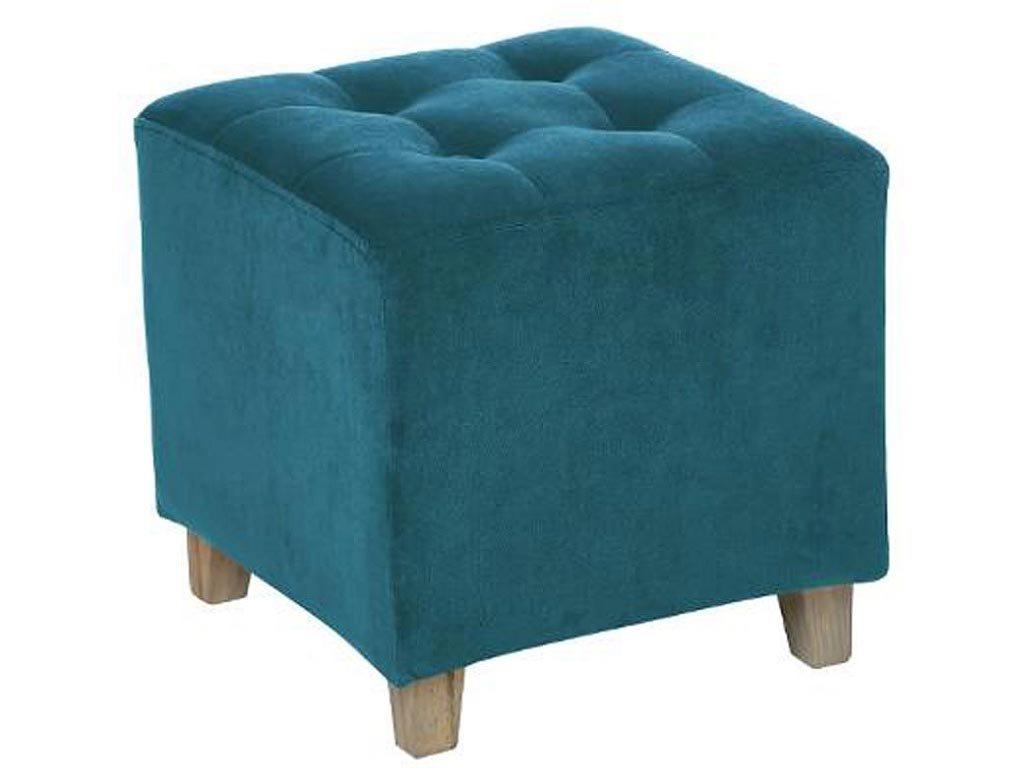 Σκαμπό σαλονιού Τετράγωνο με ξύλινα πόδια και βελούδινο πετρολ κάθισμα, 35x33.5x35 cm