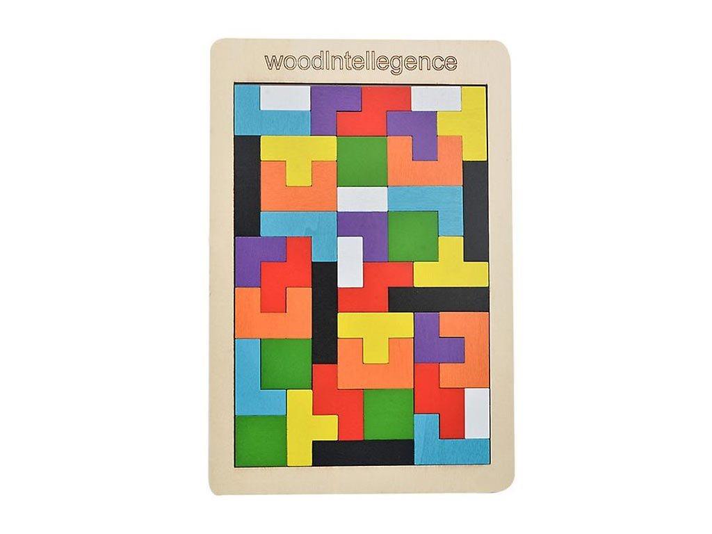 Ξύλινο Παιδικό Εκπαιδευτικό Παιχνίδι, 18x0.5x26.5 cm, Tetris Puzzle Wood intelligence