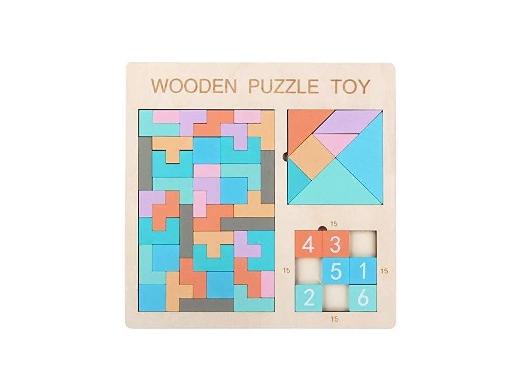 Ξύλινο Παιδικό Εκπαιδευτικό Παιχνίδι 3 σε 1, 30x1x30 cm, Tetris Wooden Puzzle