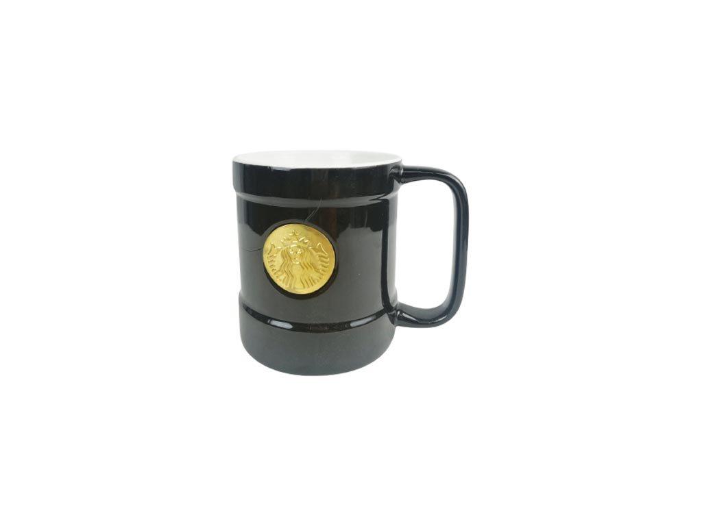 Κεραμική Κούπα με λαβή σε μαύρο χρώμα και σχέδιο, Coffee mug