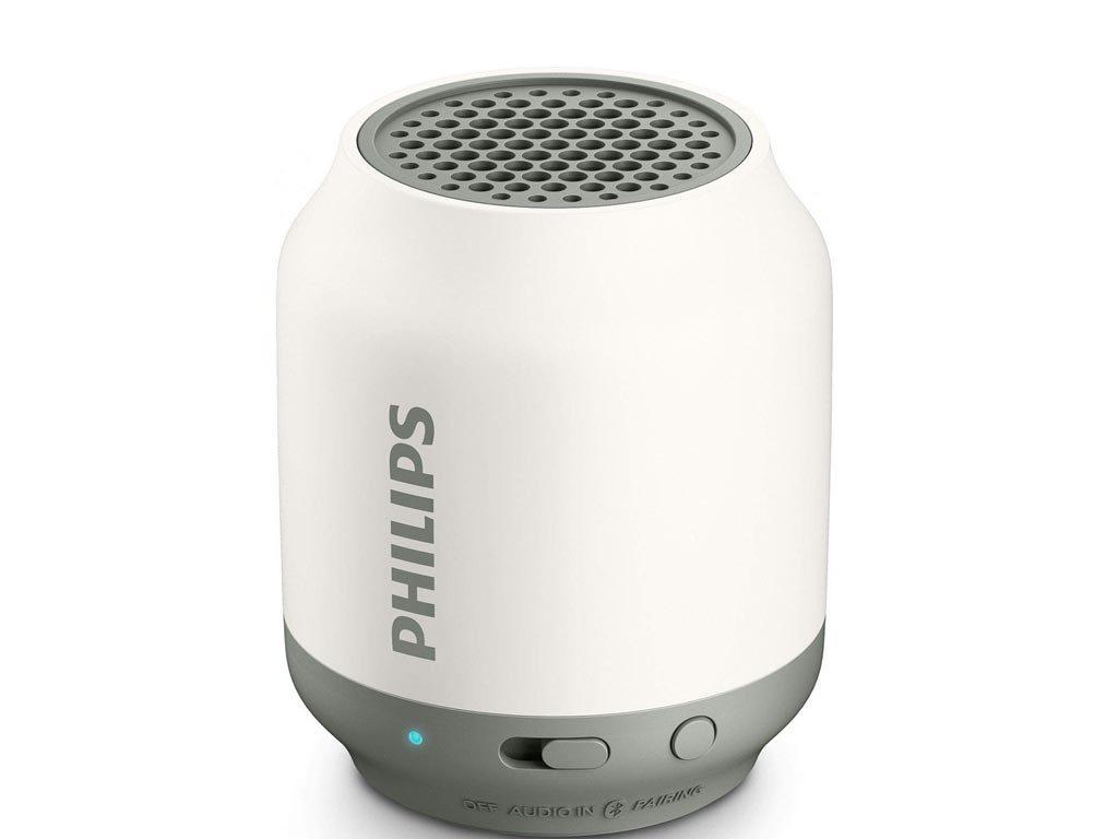 Philips Φορητό Ηχείο Bluetooth με Επαναφορτιζόμενη Μπαταρία 6 ωρών, Υποδοχή AUX σε λευκό χρώμα, BT51