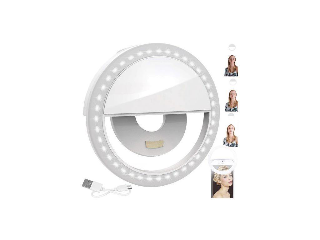 Επαναφορτιζόμενο Selfie Ring Light για Smartphone, σε λευκό χρώμα,  8.5x2x8.5 cm