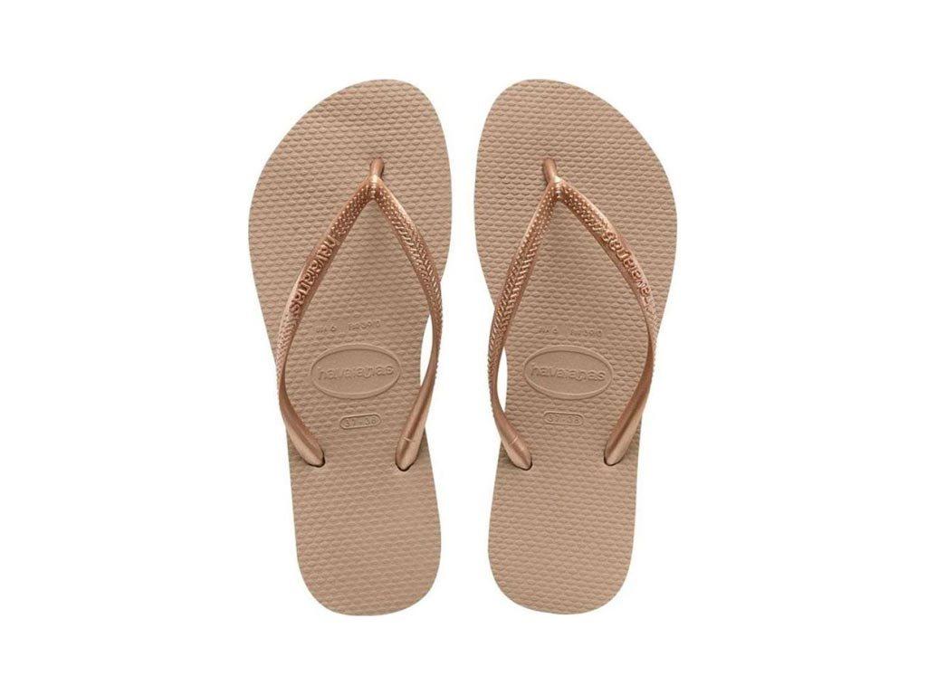 Havaianas Γυναικείες Σαγιονάρες, Flip Flops, σε Ροζ Χρυσό χρώμα 43/44