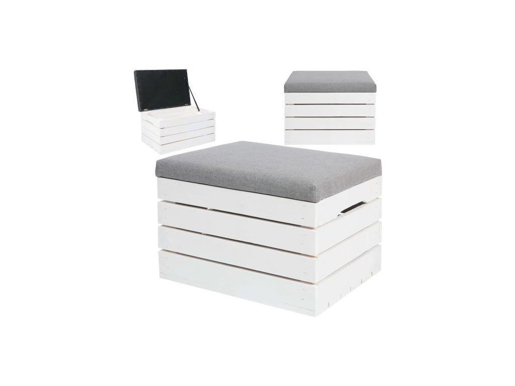 Ξύλινο σκαμπό με αποθηκευτικό χώρο και μαξιλάρι στο πάνω μέρος, σε λευκό χρώμα,  50x40x35 cm