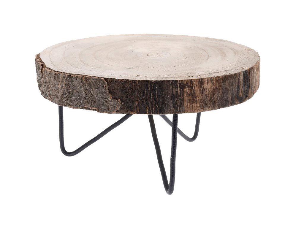 Ξύλινο Διακοσμητικό Έπιπλο Στρογγυλό Τραπεζάκι με μεταλλική βάση, 24x12 cm, Wooden table