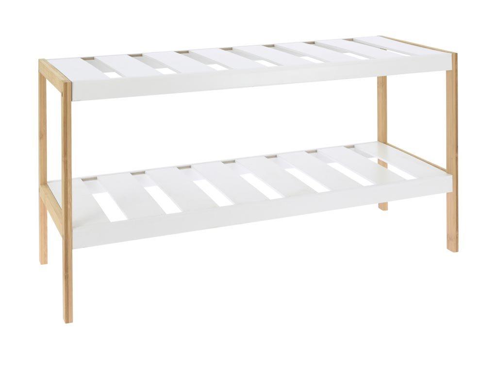 Ξύλινη Παπουτσοθήκη από Bamboo με 2 ράφια σε λευκό χρώμα, 70x26x36 cm, Shoe rack