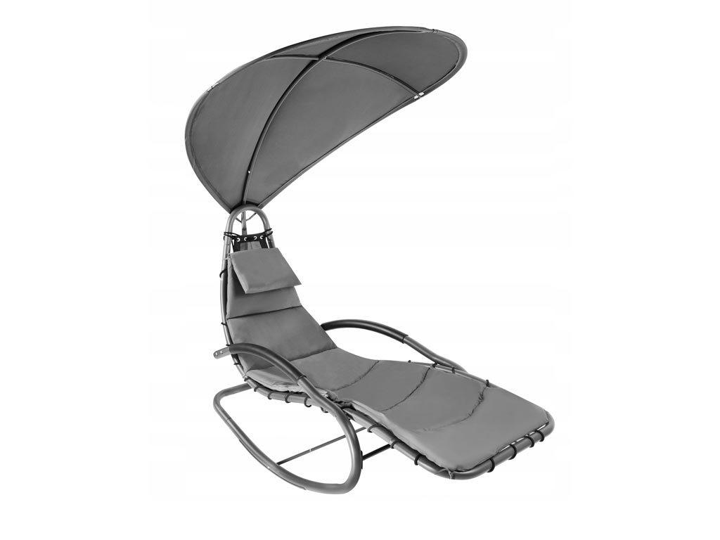 Κουνιστή Καρέκλα Ξαπλώστρα με μεταλλικό σκελετό και ομπρέλα σε γκρι χρώμα, 183x76x178 cm