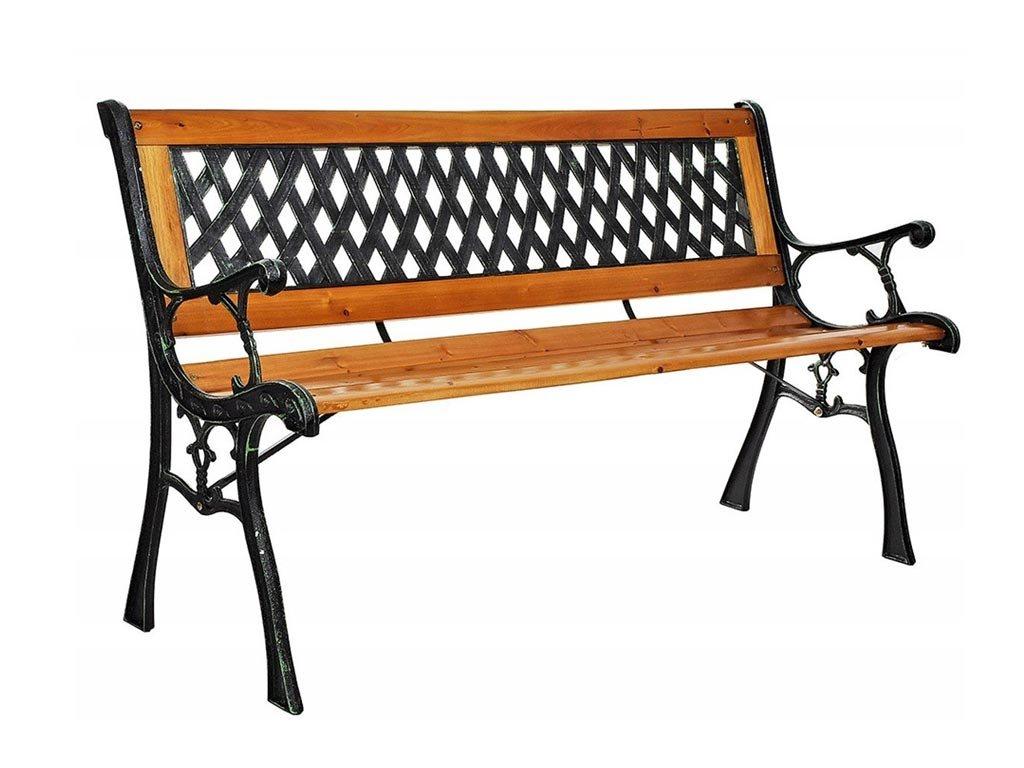 Παγκάκι εσωτερικού και εξωτερικού χώρου από ξύλο με μεταλλικό σκελετό, 125x38x75 cm, Garden bench
