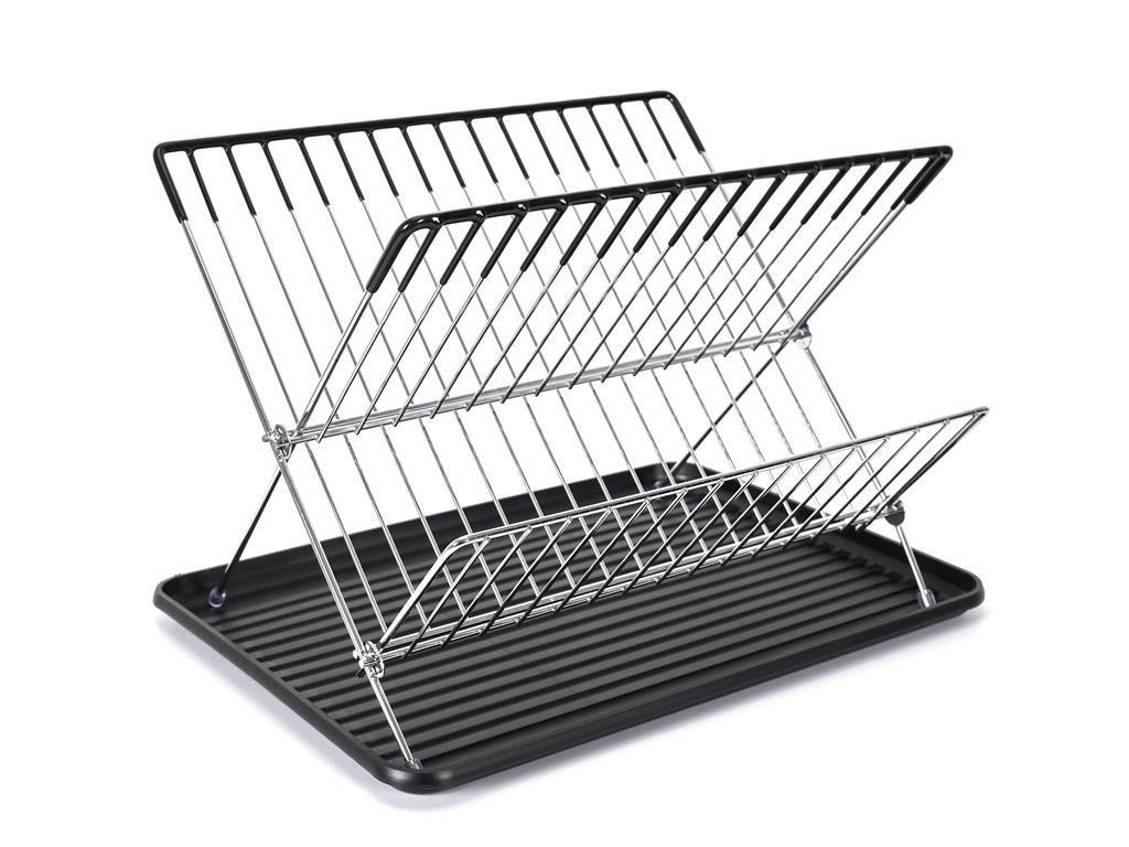 Αναδιπλούμενο Ανοξείδωτο Στεγνωτήριο Πιάτων με πλαστική βάση αποστράγγιξης, 29.50x32x43 cm