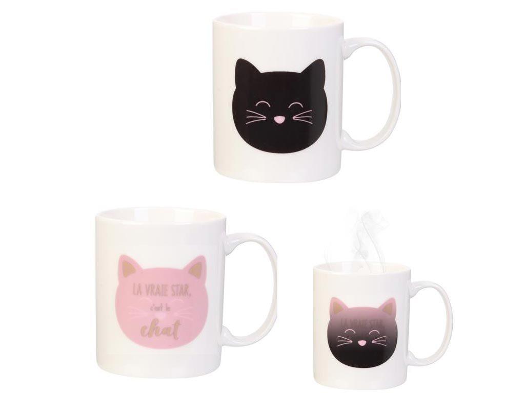 Κεραμική κούπα που αλλάζει χρώμα με την θερμοκρασία με σχέδιο γάτας, 9.5x8x12 cm