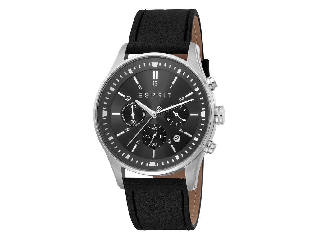 Esprit Terry Chrono Ανδρικό Ρολόι χειρός με μαύρο καντράν και χρονογράφους, ES1G209L0035