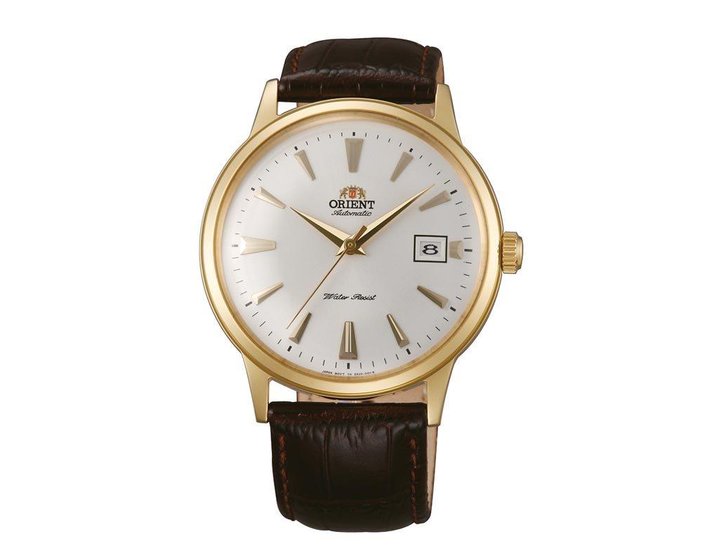 Orient Αυτόματο Ανδρικό Ρολόι χειρός με καφέ λουράκι και χρυσή κάσα, FAC00003W0