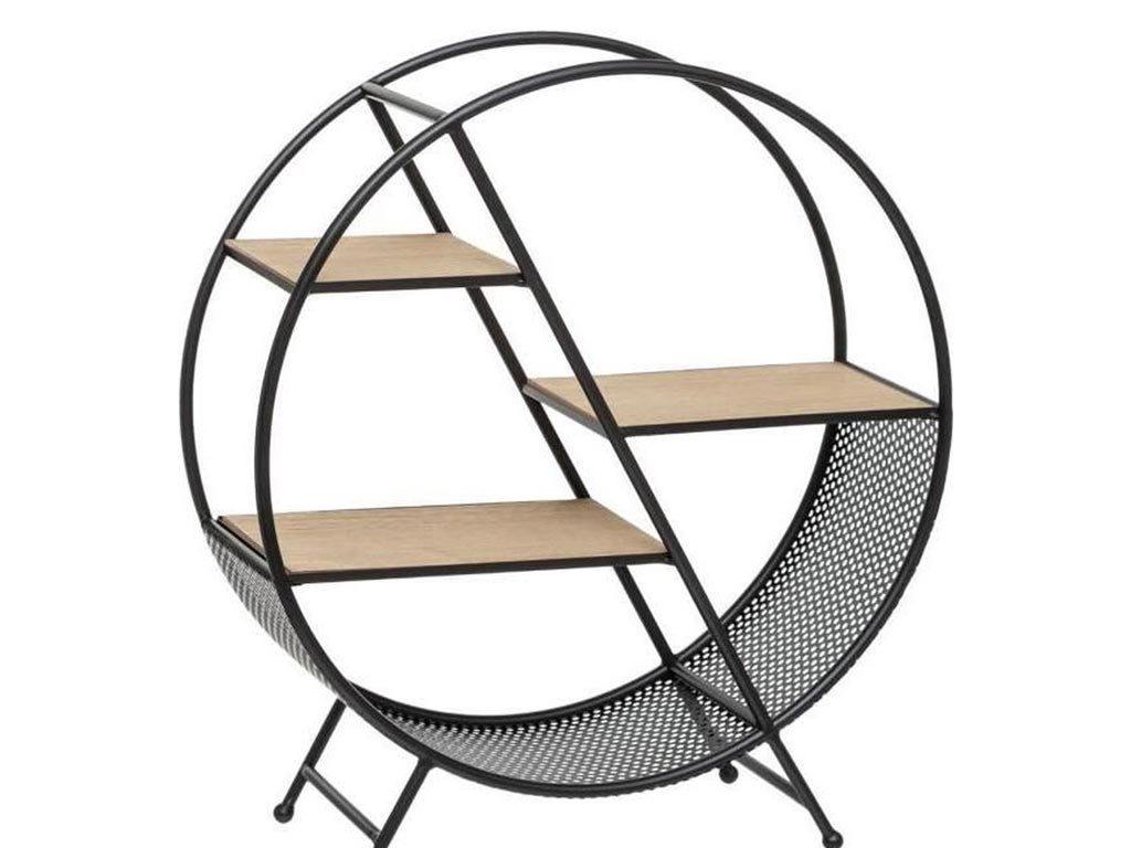 Μεταλλική  Timeo Round Ραφιέρα αποθήκευσης σε στρογγυλό σχήμα με 3 ράφια, 50x18x55.50 cm