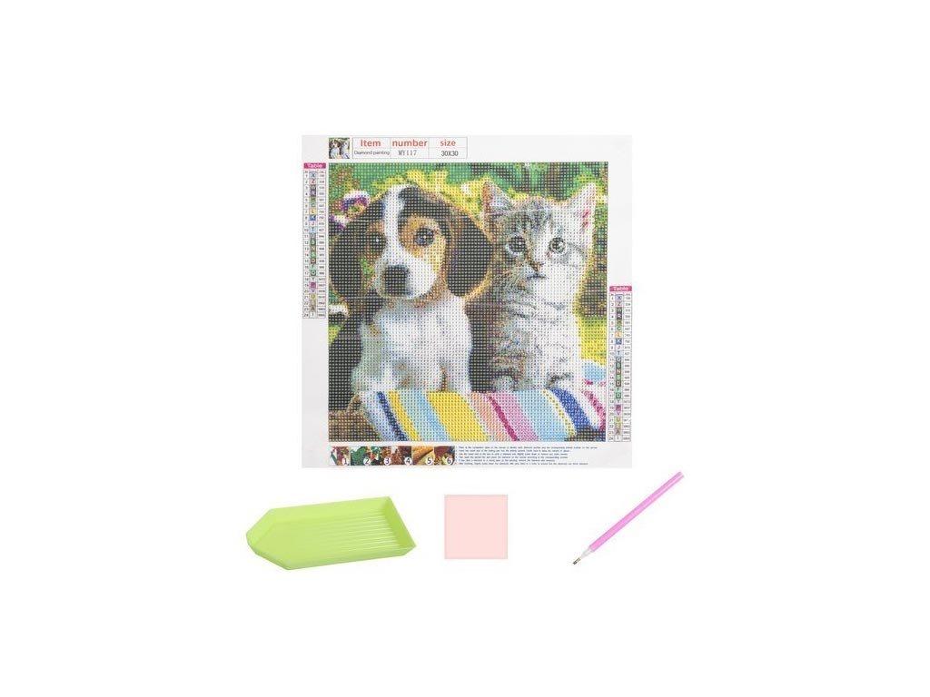 Ψηφιδωτό Μωσαικό με διαμάντια και απεικόνιση γάτα και σκύλος, 30x30 cm, Mosaic Art Kit