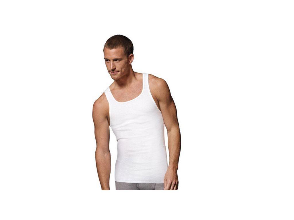 Σετ Ανδρικό Φανελάκι Αμάνικο με Τιράντα 3 τεμ σε λευκό χρώμα, A-shirt Medium