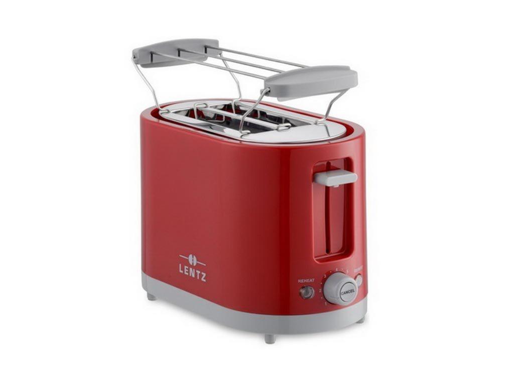 Lentz Αυτόματη Φρυγανιέρα 650-750Watt 2 θέσεων, σε κόκκινο χρώμα, 26x14x17 cm