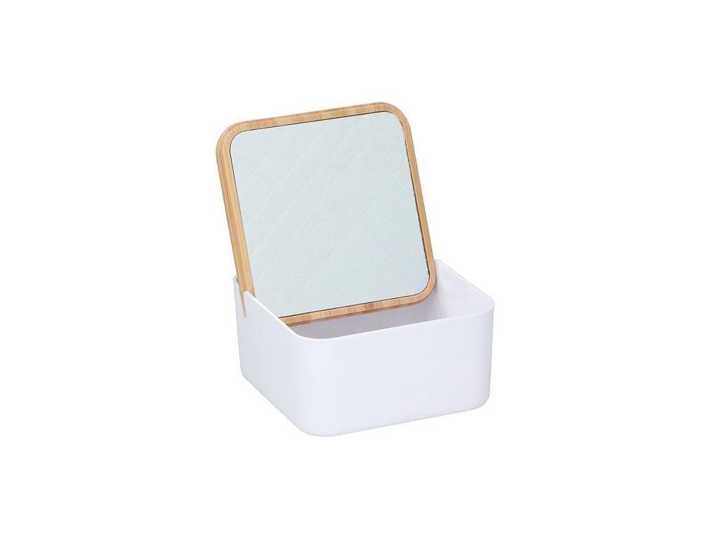 Alpina Κοσμηματοθήκη Μπιζουτιέρα με καθρέφτη και bamboo καπάκι, 13x13x7 cm, Jewelry box