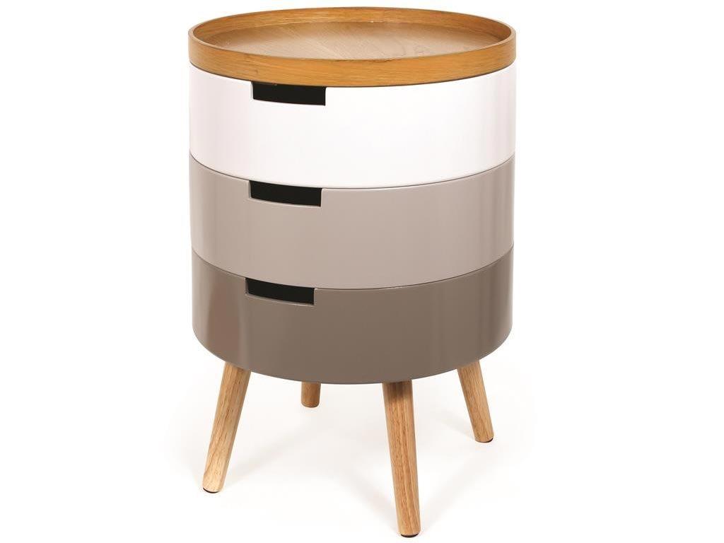 Τραπεζάκι σαλονιού 3 επιπέδων με αφαιρούμενο ξύλινο δίσκο, 38x55 cm, Side table