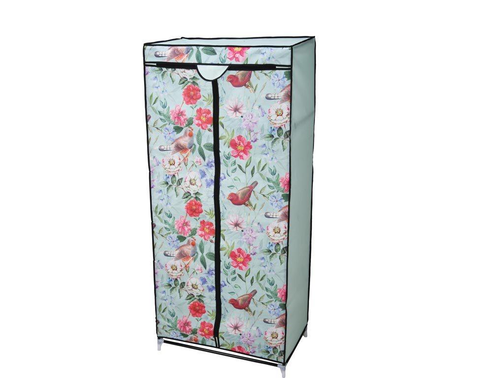 Φορητή Υφασμάτινη Ντουλάπα με ράφι,Σχέδιο  Χρωματιστά Λουλούδια