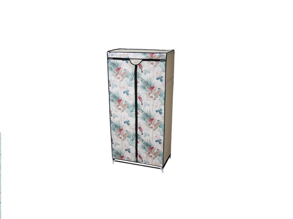Φορητή Υφασμάτινη Ντουλάπα με ράφι,Σχέδιο  Λουλούδια