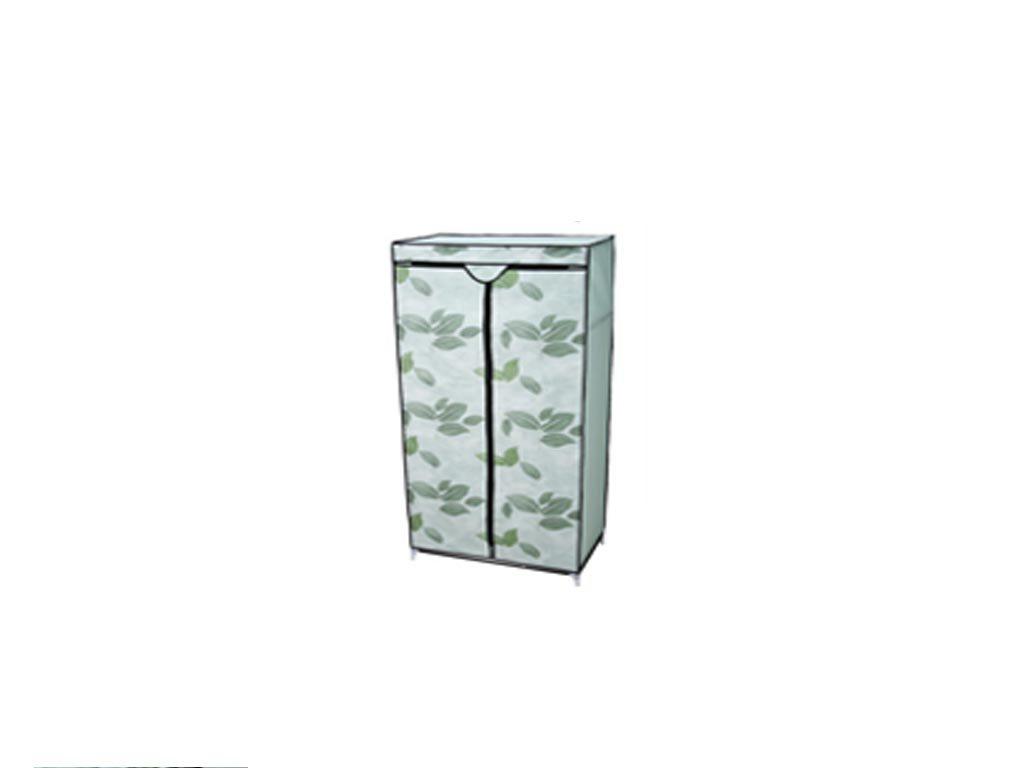 Φορητή Υφασμάτινη Ντουλάπα με ράφι,Σχέδιο  Πράσινα Φύλλα