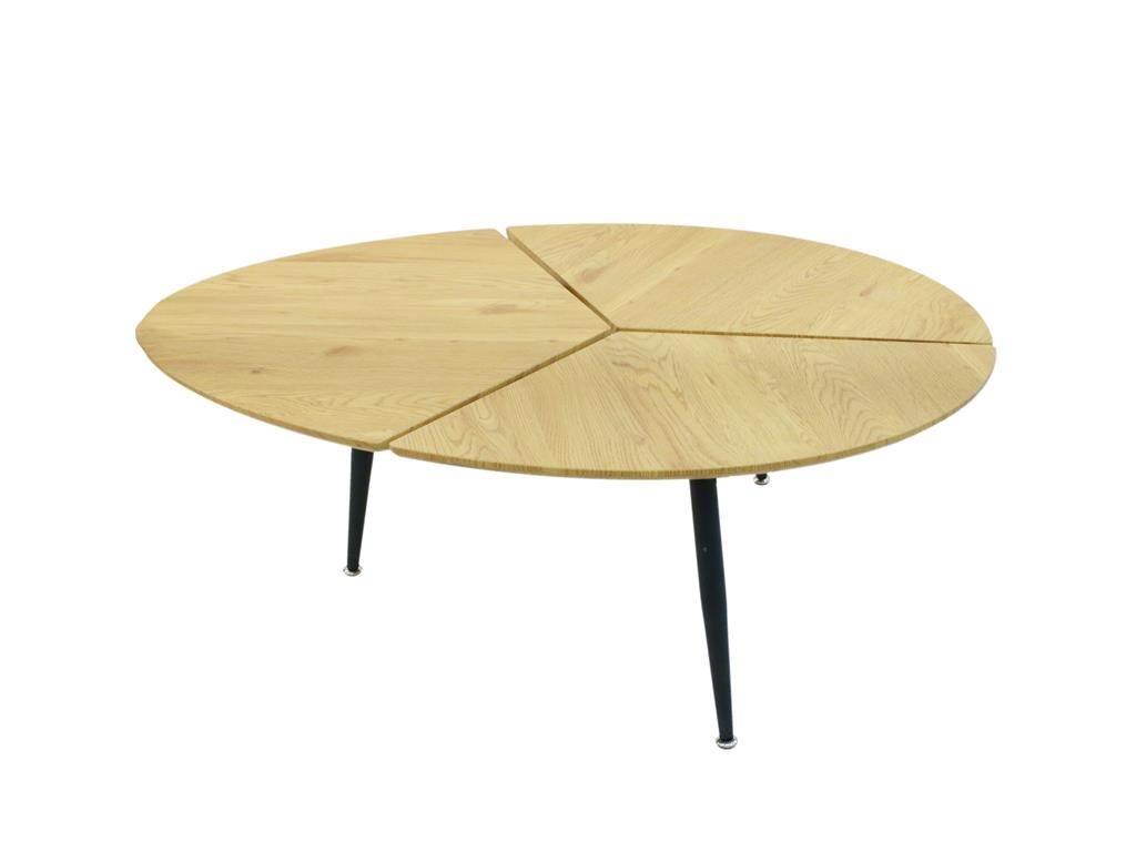 Ξύλινο Τραπέζι Σαλονιού με μεταλλική βάση, 112x74x41 cm, Low Side table