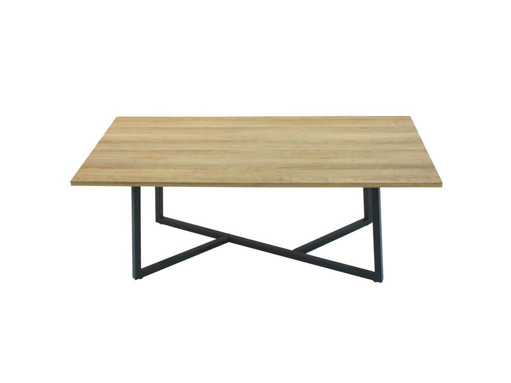 Ξύλινο Τραπέζι Σαλονιού με μεταλλική βάση, 110x60x45 cm, Low Side table
