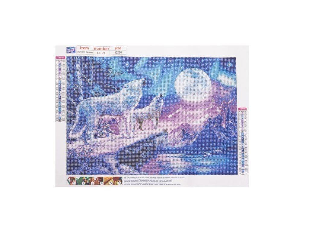 Ψηφιδωτό Μωσαικό με ψηφίδες τύπου διαμάντια και σχέδιο Λύκοι, 30x40 cm, Mosaic Art Kit