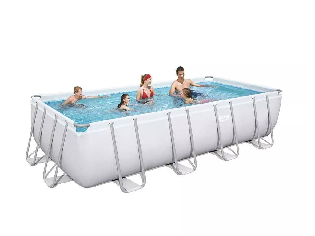 Bestway ορθογώνια πισίνα για Εξωτερικό χώρο με φίλτρο και κάλυμμα, 549x274x122cm, Power steel 56466