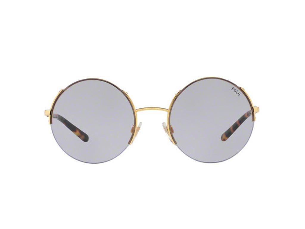 Polo Γυναικεία Γυαλιά Ηλίου με Χρυσό Μεταλλικό σκελετό και Λιλά Στρογγυλό Φακό, PH3120 90041A 55