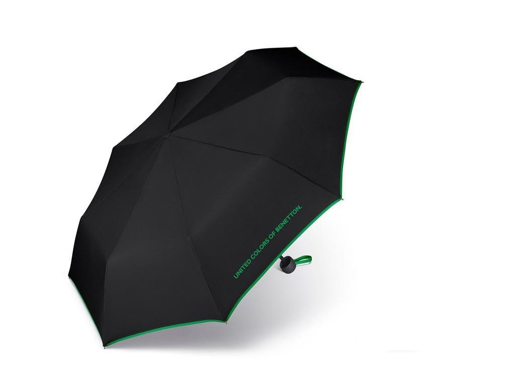Benetton Ομπρέλα Βροχής Αυτόματη Mini σε μαύρο χρώμα με πράσινη λεπτομέρεια, 66002